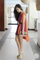 beige Sheinside heels - magenta DIDDco dress - gold Mango bag