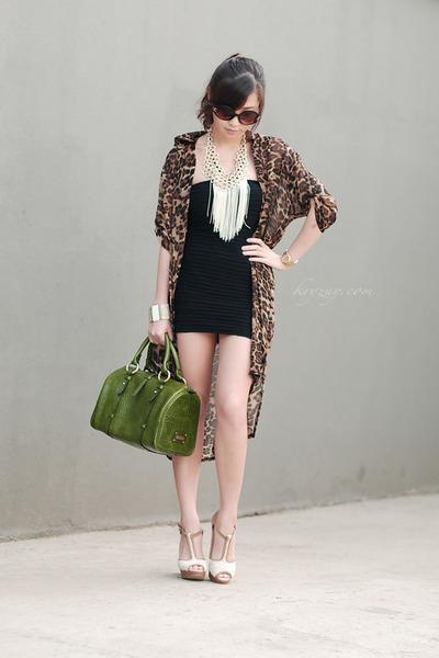 ivory Telebasura necklace - ivory island girl necklace - black Topshop dress