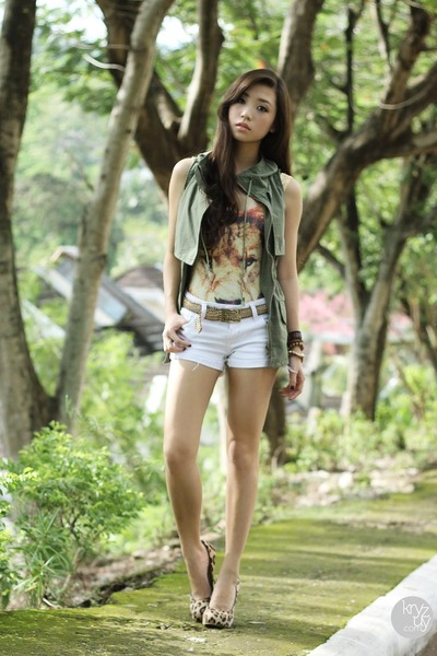 army green SM GTW vest - yellow romwe top - brown Sheinside heels
