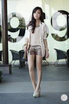 eggshell WAGW blazer - dark brown Louis Vuitton bag - dark brown WAGW shorts