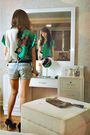 Green-vintage-blouse-blue-what-a-girl-wants-shorts-black-stella-luna-shoes-