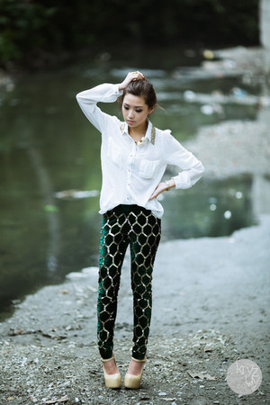 green virgos lounge leggings - white romwe top - tan Sheinside heels