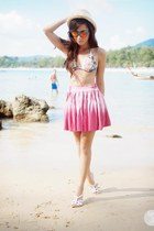 hot pink romwe skirt - turquoise blue Sunpocket sunglasses - white Roxy swimwear