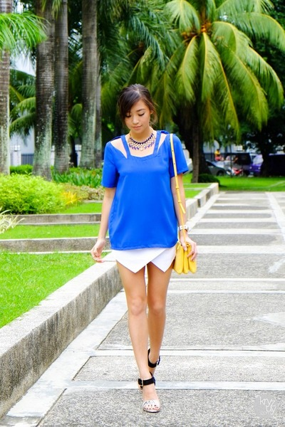 blue WAGW top - white Sheinside shorts