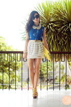 white Topshop skirt - navy odd and dot dress - yellow Love eye candy bag