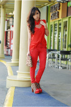 light brown five by five heels heels - gold Zara bag - red Topshop pants