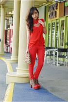 light brown five by five heels heels - gold Zara bag - red Topshop pants