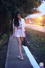 Light-pink-romwe-blazer-heather-gray-prada-bag-white-sm-gtw-shorts