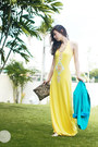 Yellow-closet-goddess-dress-sky-blue-clothes-off-blazer-gold-zara-bag