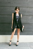 black WAGW vest - black Lovelysally top - blue WAGW necklace