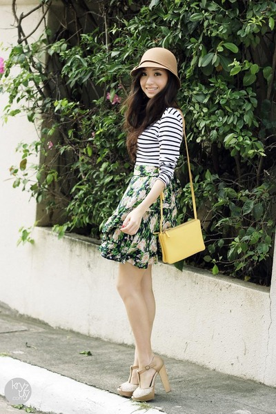 dark khaki sm acc hat - yellow Celine bag - white WAGW top