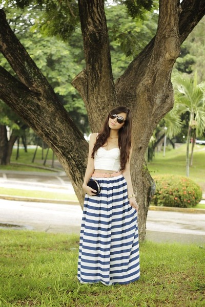 blue Flaunt Label skirt - ivory H&amp;M top