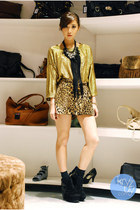 dark brown WAGW shorts - gold WAGW top