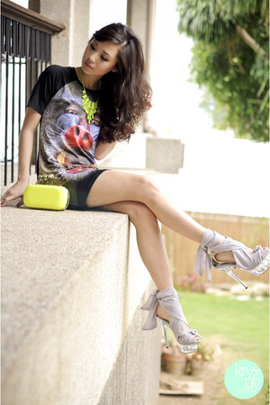 black romwe dress - yellow Call it Spring bag - yellow Extreme finds necklace
