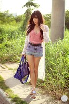 deep purple balenciaga bag - violet romwe shorts - salmon Details top