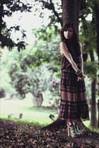 dark brown WAGW dress - green H&M heels