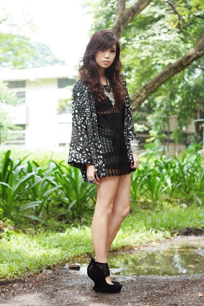 black stephie says dress - black H&M cape - black sm accessories necklace