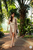 dark khaki WAGW cardigan - off white DIDD dress