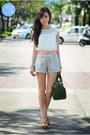 Orange-charles-and-keith-heels-green-fino-bag-white-coexist-shorts
