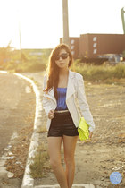chartreuse Choies bag - black romwe sunglasses - silver WAGW belt
