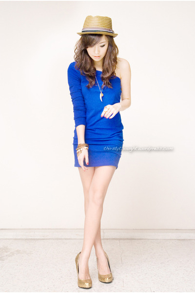 blue iwearsincom dress - light brown Topman hat - gold michael antonio heels