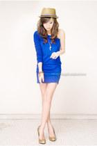 blue iwearsincom dress - light brown Topman hat - gold michael antonio heels