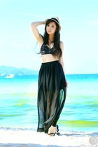black Sheinside skirt - black Kryz Uy X I Love Koi swimwear