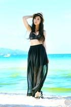 black Sheinside skirt - black Kryz Uy X I Love Koi swimwear