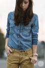 Blue-levis-top-tan-levis-jeans-eggshell-sheinside-heels