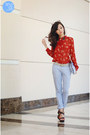 Red-berrybow-top-silver-zara-bag-periwinkle-zara-pants