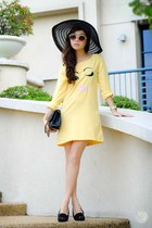 light yellow WAGW dress - black primaluxe manila flats