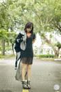 Black-closet-goddess-dress-heather-gray-romwe-jacket-black-pedro-heels