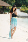 black H&M swimwear - sky blue Love skirt