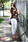Dark-brown-burberry-sunglasses-white-yesstyle-pants-black-romwe-top