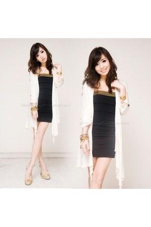 black iwearsin dress - ivory iwearsin cardigan - gold Singapore heels
