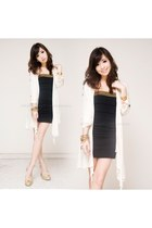 black iwearsin dress - ivory iwearsin cardigan - gold Singapore heels