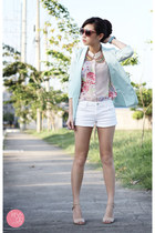 aquamarine lemon online blazer - white f&amp;x shorts - beige Reecn top