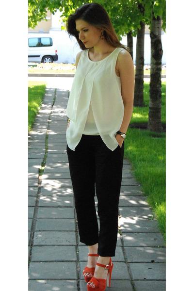 Topshop sandals - white Zara top - Blue Vanilla earrings