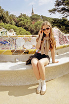 dark brown H&M bag - gray Only shorts - tan Ahlens sunglasses - white sweet GINA