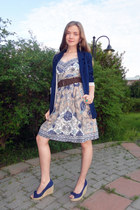tan KappAhl dress - navy H&M coat - dark brown Indiska belt - navy with small bo