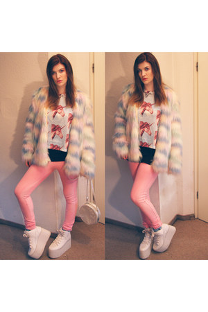 sky blue fake fur nastygal jacket - sky blue DollsKill shirt