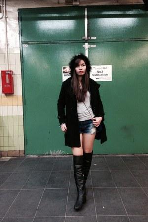 black boots - black coat - silver Zara blouse