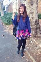 black boots - blue fur blouse - navy skirt
