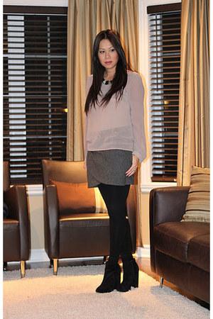 Forever 21 blouse - asos boots - Costa Blanca skirt