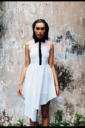 white sheer polyester ASK dress