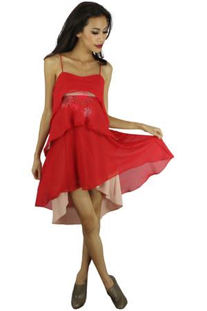 red fBudi dress