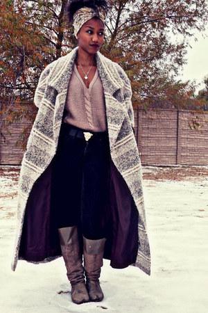 dark khaki vintage coat - camel Jessica Simpson boots - black Forever 21 jeans
