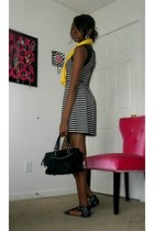 black striped Forever 21 dress - yellow Charlotte Russe scarf