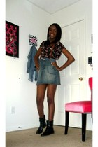 navy high waisted Forever 21 skirt - black combat boots boots