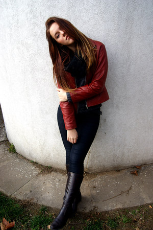 red leather jacket jacket - dark brown boots - dark gray sweater - black scarf